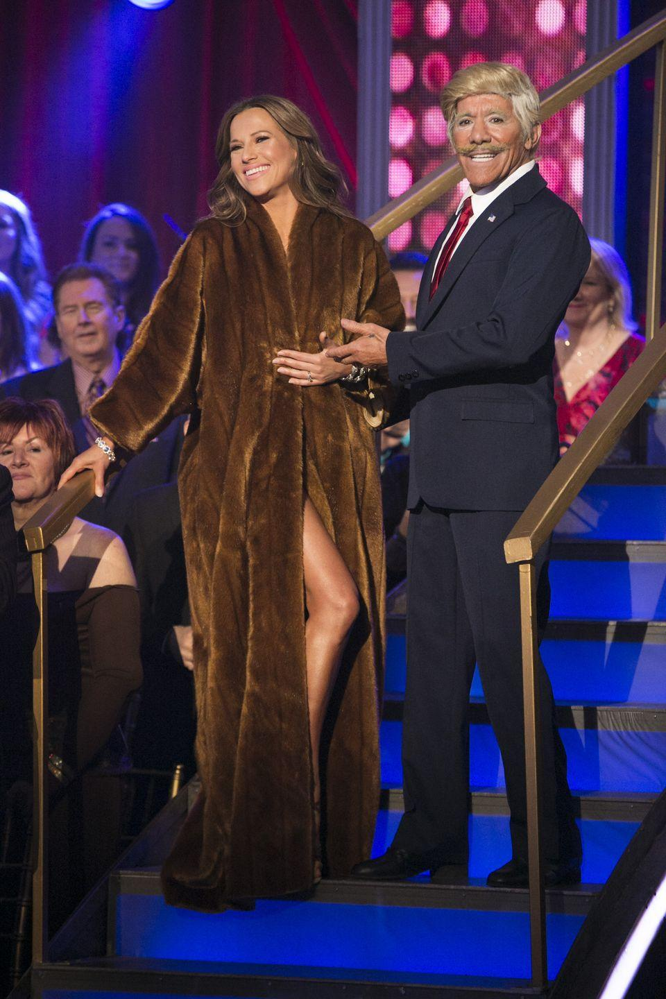 <p>During the first week of season 22, the TV personality dressed up as Donald Trump and his partner, Edyta Śliwińska, looked very Melania-like. The move was controversial, to say the least. It also came off as awkward and forced. So, yeah, the pair was eliminated after the first week.  </p><p>An added bit of awkwardness? Donald Trump's ex-wife, Marla Maples, was also competing on the season and was watching the performance with the other contestants backstage.</p>