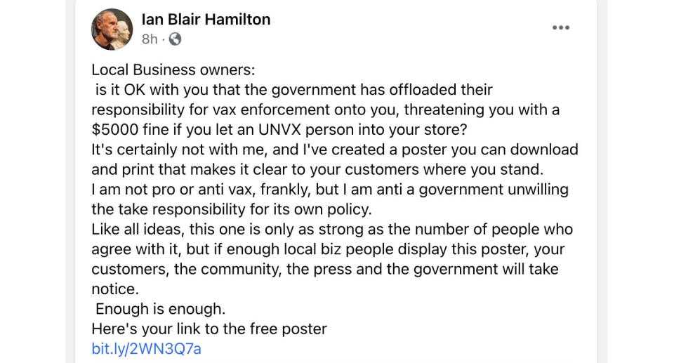 A shop owner in Byron Bay has lashed out on social media over NSW businesses facing $5000 fines for serving unvaxxed customers. Source: Facebook