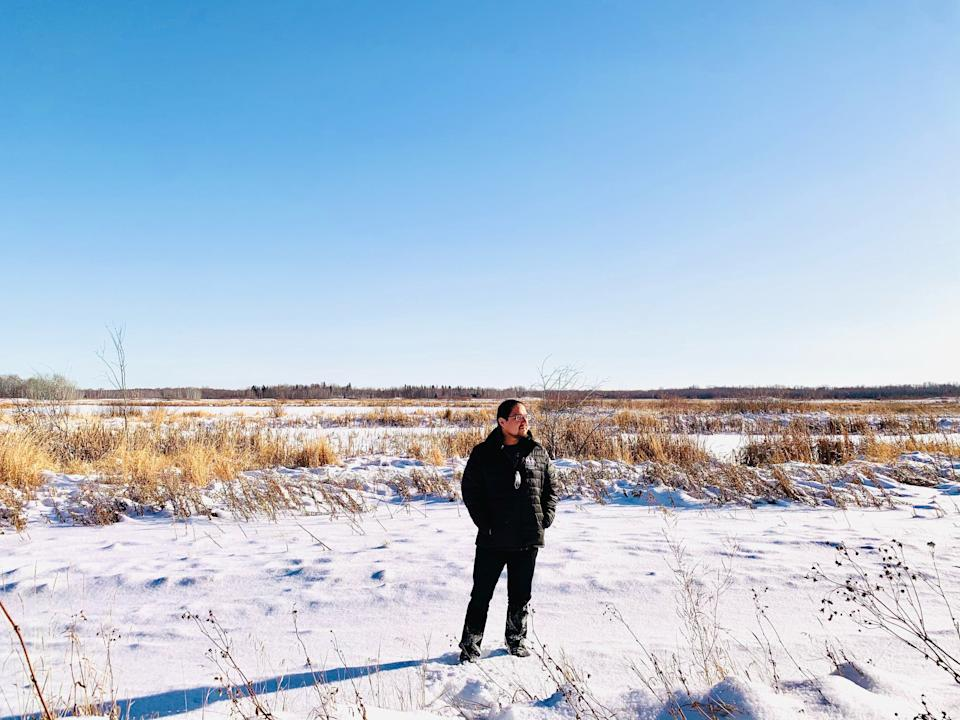 Enoch Cree Nation Chief Billy Morin standing in front of Yekau Lake, the former location of a federal bomb practice range. (Photo: Handout/Enoch Cree Nation #3)