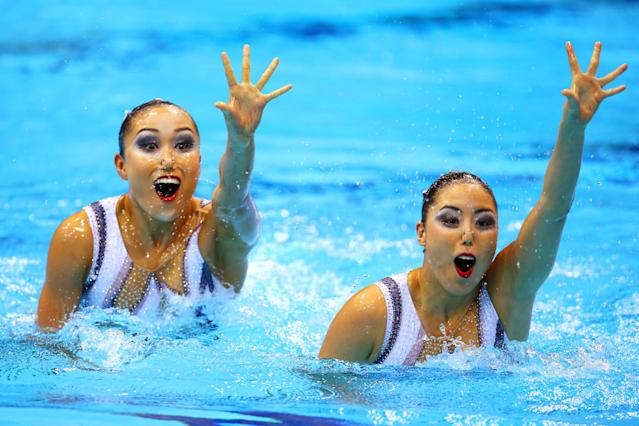 LONDON, ENGLAND - AUGUST 06: Yukiko Inui and Chisa Kobayashi of Japan compete in the Women's Duets Synchronised Swimming Free Routine Preliminary on Day 10 of the London 2012 Olympic Games at the Aquatics Centre on August 6, 2012 in London, England. (Photo by Al Bello/Getty Images)