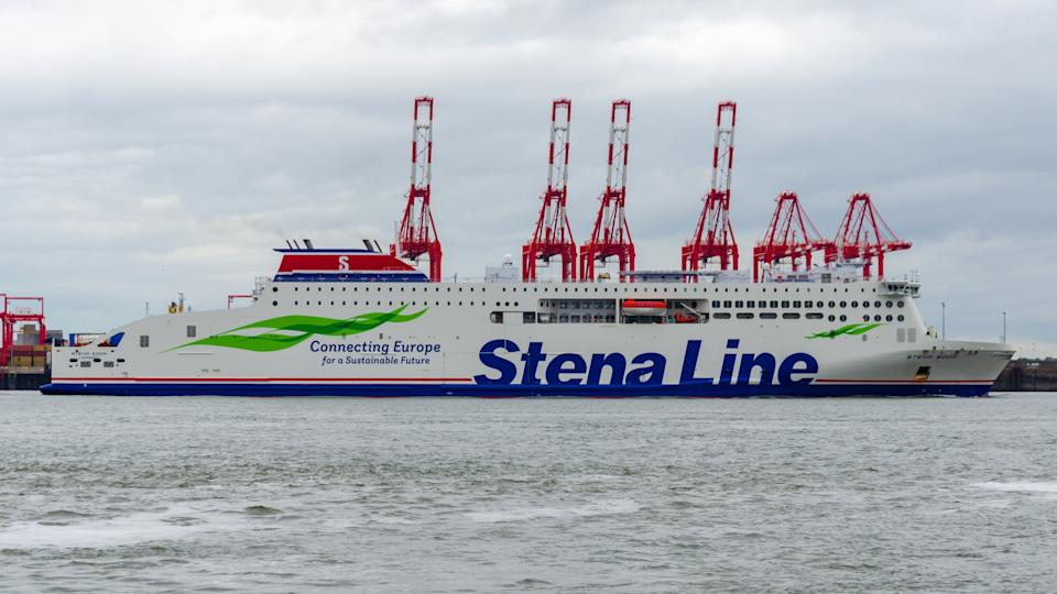 Wallasey, UK: Jun 3, 2020: Stena Edda, a ro-ro passenger ferry, enters the River Mersey as it approaches Birkenhead having sailed from Belfast. It was built in 2020 & sails under the flag of Cyprus.