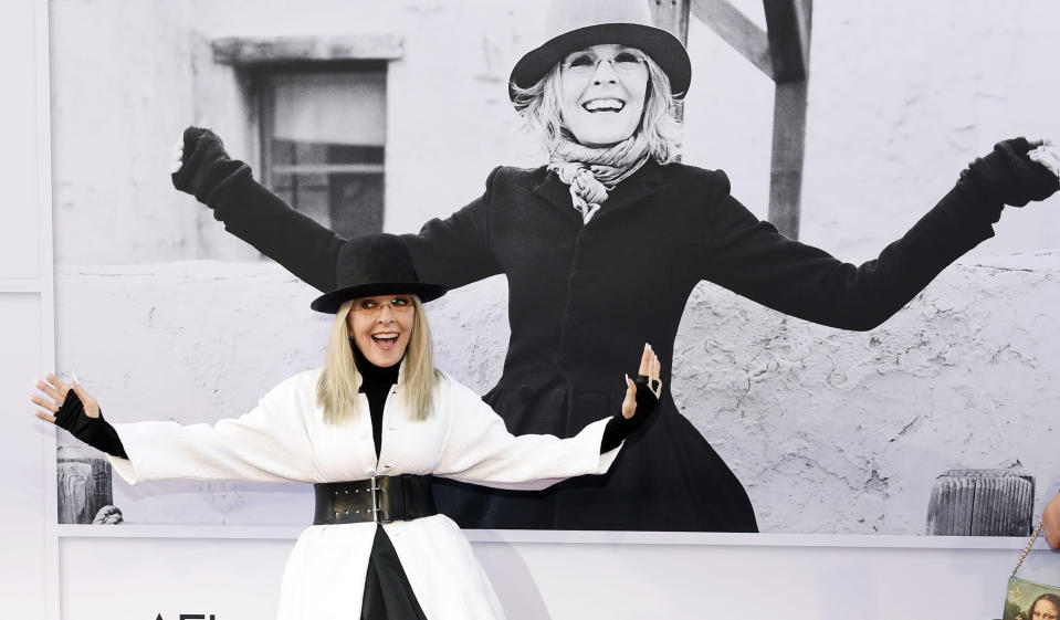 FILE - Diane Keaton arrives at the 45th AFI Life Achievement Award tribute in her honor on June 8, 2017, in Los Angeles. Keaton turns 75 on Jan. 5. (Photo by Chris Pizzello/Invision/AP, File)