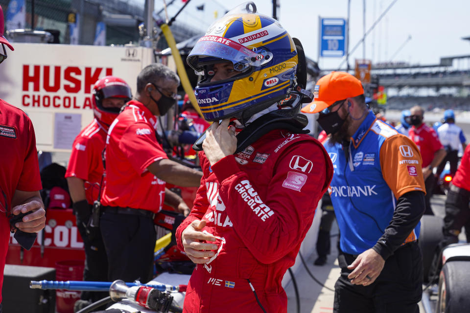 Marcus Ericsson, of Sweden, prepares to drive during practice for the Indianapolis 500 auto race at Indianapolis Motor Speedway in Indianapolis, Thursday, May 20, 2021. (AP Photo/Michael Conroy)