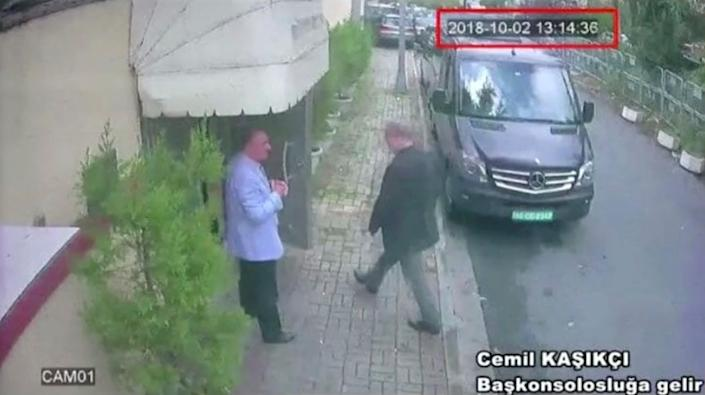 A still image taken from CCTV video and obtained by TRT World reportedly shows Saudi journalist Jamal Khashoggi arriving at Saudi Arabia's consulate in Istanbul on Oct. 2, 2018. (Photo: Reuters TV/via Reeuters)