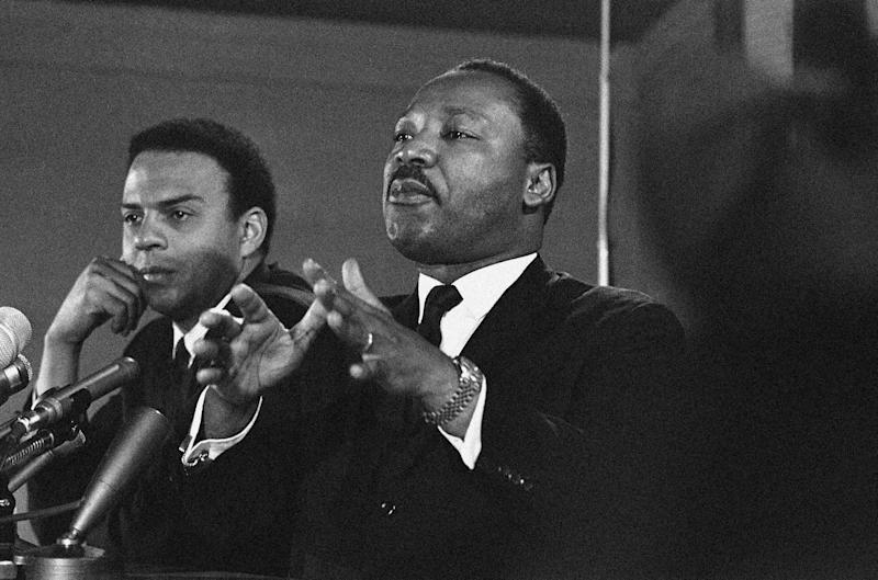 Andrew Young, left, and Dr. Martin Luther King, Jr., on Feb. 7, 1968, two months before King's assassination. / Credit: AP Photo