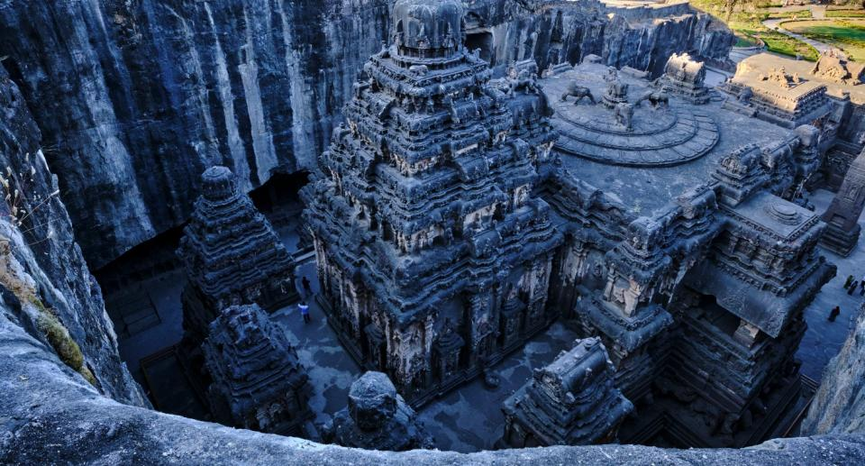 Ellora cave temple: Kailash Temple, 8th century, cave N°16, a Unesco World Heritage site. Photo: Getty Images