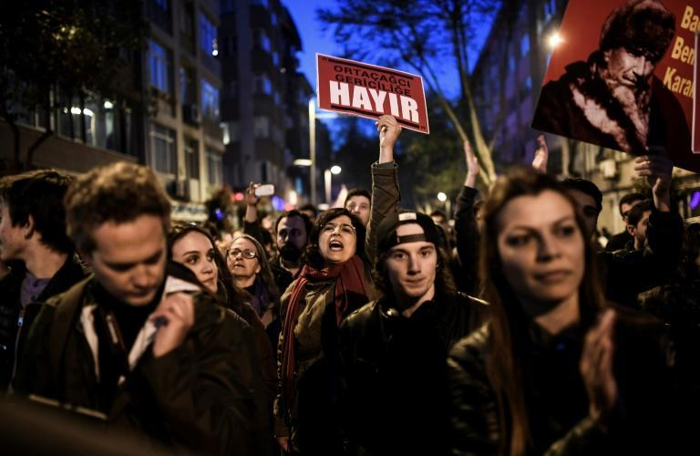 "Supporters of ""No"" march at Besiktas to submit their petition calling for the annulment of a referendum that approved sweeping constitutional changes boosting President Recep Tayyip Erdogan's powers"