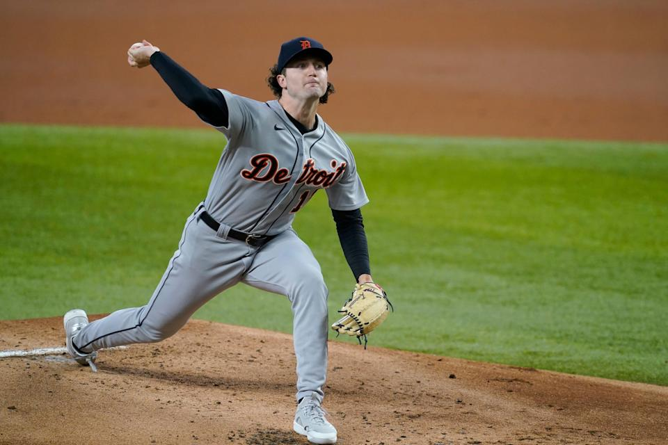 Detroit Tigers starting pitcher Casey Mize throws to the Texas Rangers in the first inning of a baseball game in Arlington, Texas, Wednesday, July 7, 2021.