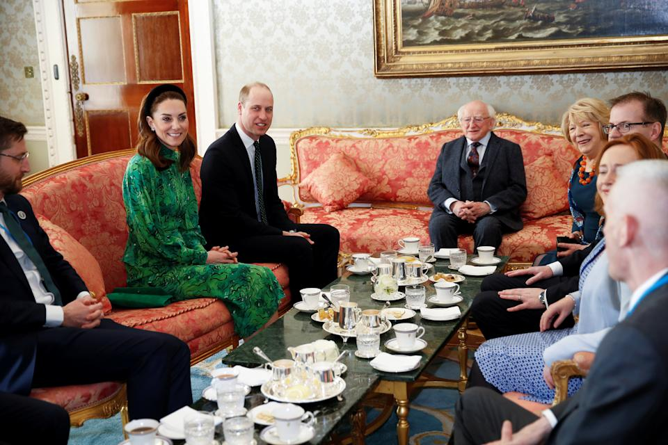 The Duke and Duchess of Cambridge meet with the President of Ireland, Michael D. Higgins and his wife Sabina Coyne at Aras an Uachtarain, Dublin, during their three day visit to the Republic of Ireland.