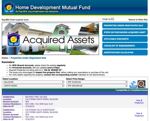 Pag-IBIG Acquired Assets Page