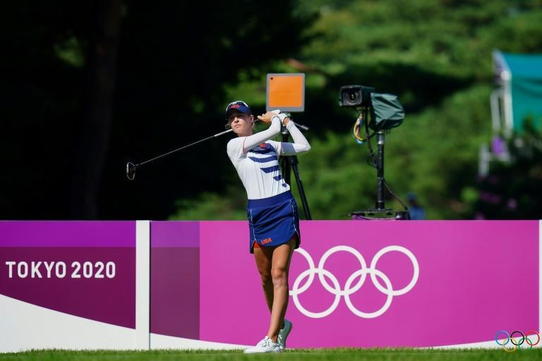 Top-ranked Nelly Korda leads by four shots after two rounds of the women's golf tournament