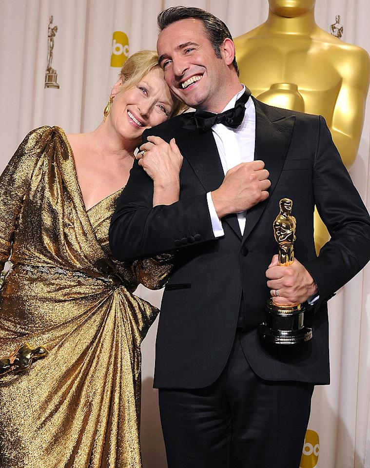 "Big winners Meryl Streep and Jean Dujardin posed with their coveted statues after the 84th Annual Academy Awards in Hollywood on Sunday night. She won the Best Actress award for her role as Margaret Thatcher in the biopic ""The Iron Lady,"" while he became the first French actor ever to take home the Best Actor statue for his role in the silent movie ""The Artist."" (2/26/2012)"