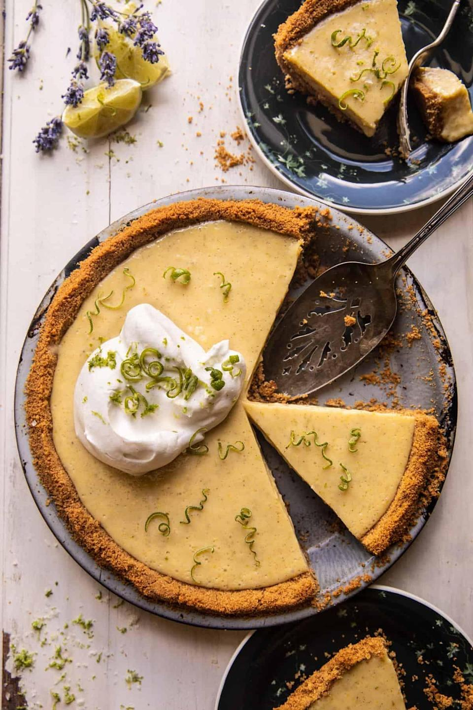 "<p>Tangy, creamy, and double stuffed, this key-lime pie is a dessert-lover's dream come true. Imagine: a thick and buttery crust surrounding a sweet and zesty fresh lime filling. What could be better, you ask? Oh, just two layers of crust.</p> <p><strong>Get the recipe</strong>: <a href=""https://www.halfbakedharvest.com/key-lime-pie/"" class=""link rapid-noclick-resp"" rel=""nofollow noopener"" target=""_blank"" data-ylk=""slk:double-stuffed vanilla key-lime pie"">double-stuffed vanilla key-lime pie</a></p>"