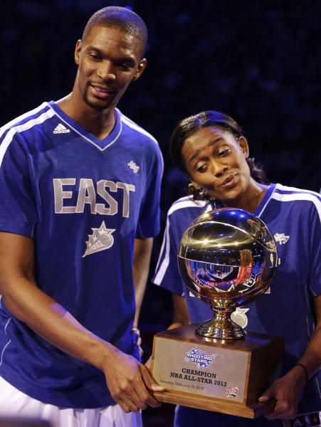 Chris Bosh of the Miami Heat and Swin Cash of the Chicago Sky hold the trophy after they and Dominique Wilkins won the Shooting Stars contest during NBA basketball All-Star Saturday Night, Feb. 16, 2013, in Houston. (AP Photo/Eric Gay)