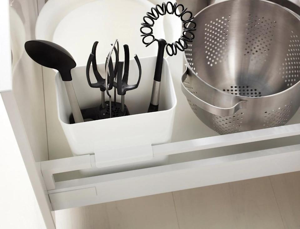 "<p>The <a href=""https://www.popsugar.com/buy/Variera%20Utensil%20Holder-446967?p_name=Variera%20Utensil%20Holder&retailer=ikea.com&price=5&evar1=casa%3Aus&evar9=46151613&evar98=https%3A%2F%2Fwww.popsugar.com%2Fhome%2Fphoto-gallery%2F46151613%2Fimage%2F46152151%2FVariera-Utensil-Holder&list1=shopping%2Cikea%2Corganization%2Ckitchens%2Chome%20shopping&prop13=api&pdata=1"" rel=""nofollow noopener"" target=""_blank"" data-ylk=""slk:Variera Utensil Holder"" class=""link rapid-noclick-resp"">Variera Utensil Holder</a> ($5) will house all of your kitchen tools in one organized place.</p>"