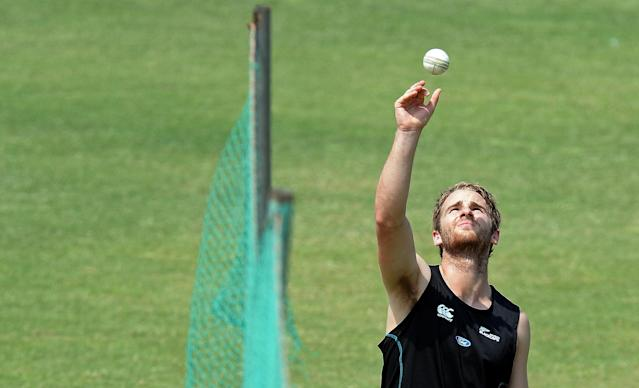 New Zealand cricketer Kane Williamson bowls during a training session at The Zahur Ahmed Chowdhury Stadium in Chittagong on March 23, 2014 (AFP Photo/Prakash Singh)