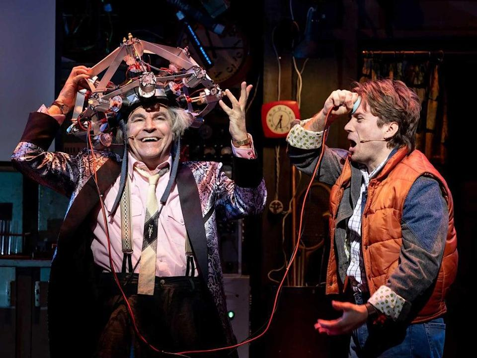 Roger Bart and Olly Dobson play Doc and Marty in 'Back to the Future: The Musical' (Sean Ebsworth Barnes)
