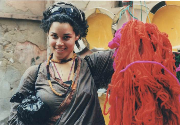 Justina Blakeney shopping for yarn in Italy. The designer said living abroad in her 20s was a