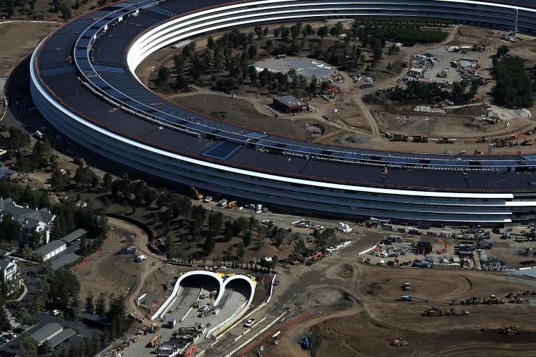 An aerial view of the Apple's new headquarters in Cupertino, California, seen on April 28, 2017