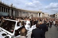 Pope John Paul II collapsed in the papal Jeep after being shot in Saint Peter's Square in Rome on May 13, 1981