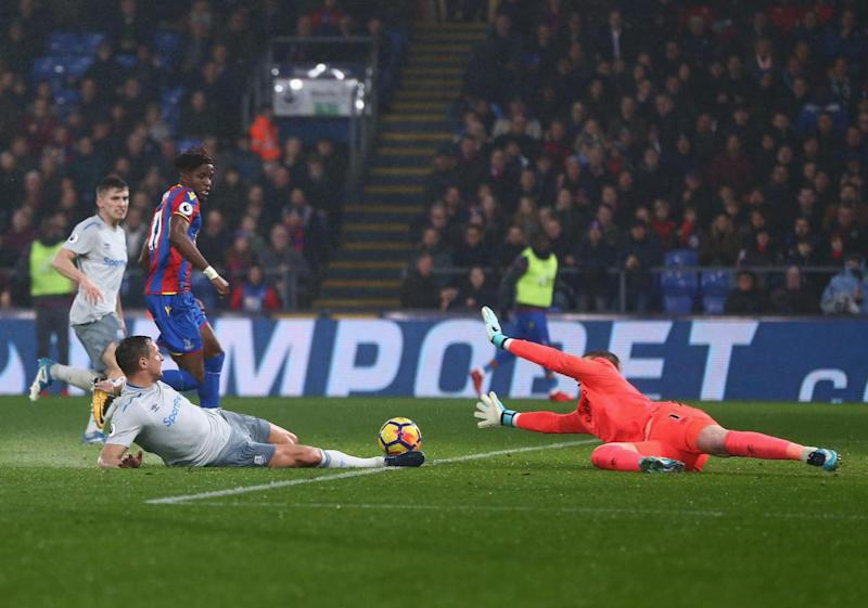 On target: Zaha scores Palace's second against Everton last weekend (Getty Images)