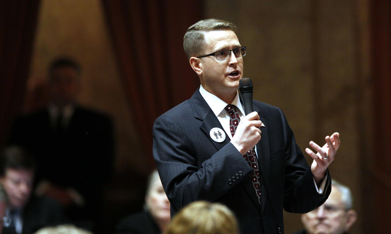 Rep. Matt Shea, R-Spokane Valley, speaks about a proposed amendment to a gay marriage bill Wednesday, Feb. 8, 2012, in Olympia, Wash. Lawmakers are poised to legalize gay marriage in Washington state, which would make it the seventh state in the nation to allow same-sex couples to wed. (AP Photo/Elaine Thompson)
