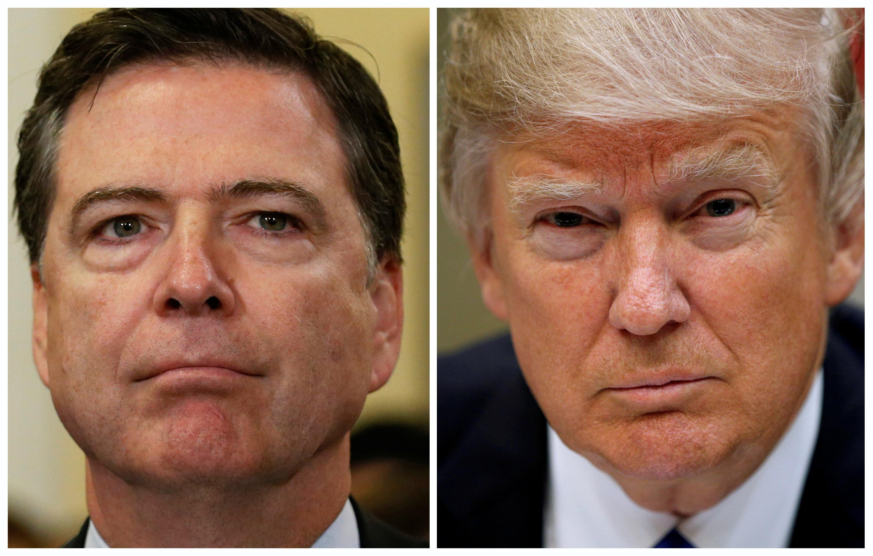 A combination photo shows FBI Director James Comey (L) and U.S. President Donald Trump. REUTERS/Jonathan Ernst,Kevin Lamarque