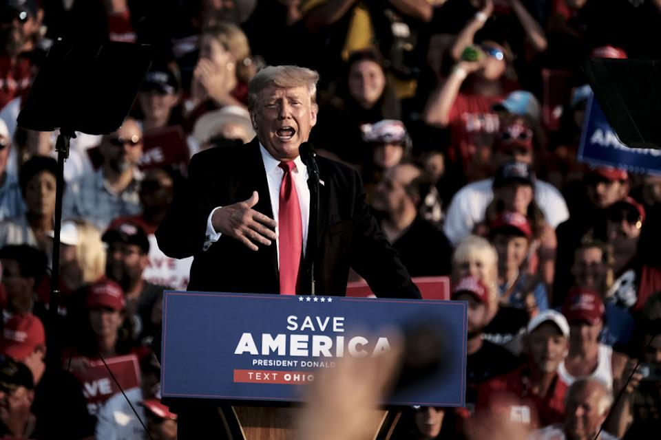 Former US President Donald Trump speaks to his supporters during a 'Save America' Rally at the Lorain County Fairgrounds in Wellington, Ohio, U.S., on Saturday, June 26.