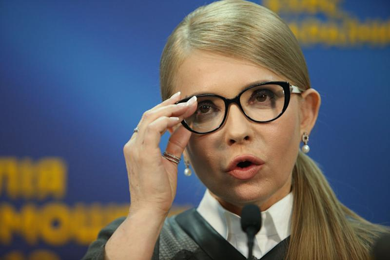 Presidential candidate Yulia Tymoshenko talks to the media during a press conference in Kiev, Ukraine, March 7, 2019. (Photo by Sergii Kharchenko/NurPhoto via Getty Images) | NurPhoto via Getty Images