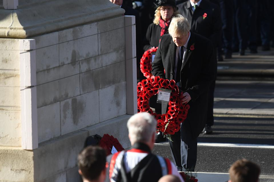Prime Minister Boris Johnson lays a wreath during the Remembrance Sunday service at the Cenotaph memorial in Whitehall, central London.