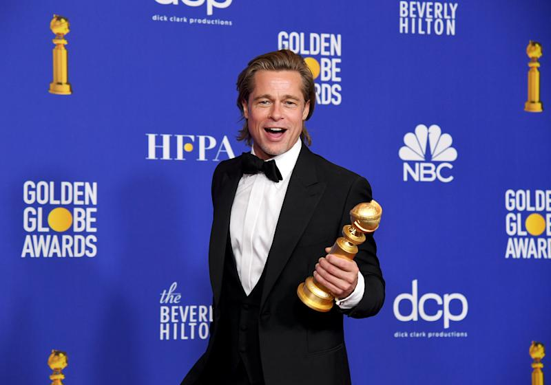 BEVERLY HILLS, CALIFORNIA - JANUARY 05: Brad Pitt, winner of Best Performance by a Supporting Actor in a Motion Picture, poses in the press room during the 77th Annual Golden Globe Awards at The Beverly Hilton Hotel on January 05, 2020 in Beverly Hills, California. (Photo by Kevin Winter/Getty Images)
