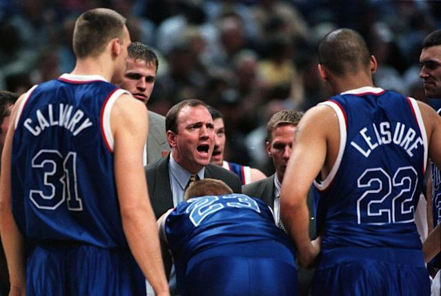 Gonzaga coach Dan Monson provides direction to his players during the Sweet 16 against Florida (AP)