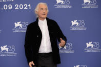 Musician Jimmy Page poses at the photo call of the movie 'Becoming Led Zeppelin' at the 78th edition of the Venice Film Festival at the Venice Lido, Italy, Saturday, Sep. 4, 2021. The festival is on Sept. 1 through Sept. 11. (AP Photo/Domenico Stinellis)