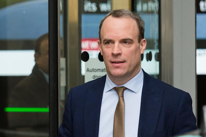 LONDON, UNITED KINGDOM - JANUARY 05, 2020: Secretary of State for Foreign and Commonwealth Affairs Dominic Raab leaves the BBC Broadcasting House in central London after appearing on The Andrew Marr Show on 05 January, 2020 in London, England.- PHOTOGRAPH BY Wiktor Szymanowicz / Barcroft Media (Photo credit should read Wiktor Szymanowicz / Barcroft Media via Getty Images)