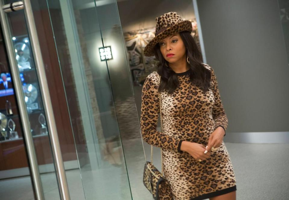<p>This leopard print outfit is classic Cookie: In your face, and over the top. Honestly, who says you shouldn't match your micro-mini dress to your asymmetrical fedora to your handbag? The only thing surprising us here is the fact that Ms. Lyons' manicure isn't leopard, too. There's no camouflage here, people! </p><p><i>Photo Courtesy: FOX</i></p>