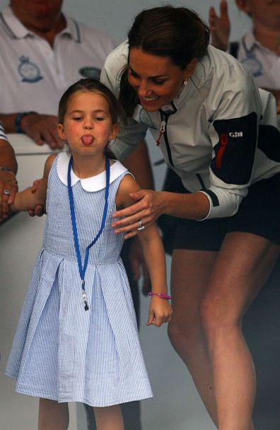 PHOTO: Princess Charlotte sticks her tongue out next to her mother, Catherine Duchess of Cambridge, before a presentation ceremony following the King's Cup Regatta in Isle of Wight, Britain, August 8, 2019. (Peter Nicholls/Reuters)