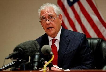 U.S. Secretary of State Rex Tillerson makes a statement about the visit of China's President Xi Jinping and about the situation in Syria, at Palm Beach International Airport in West Palm Beach