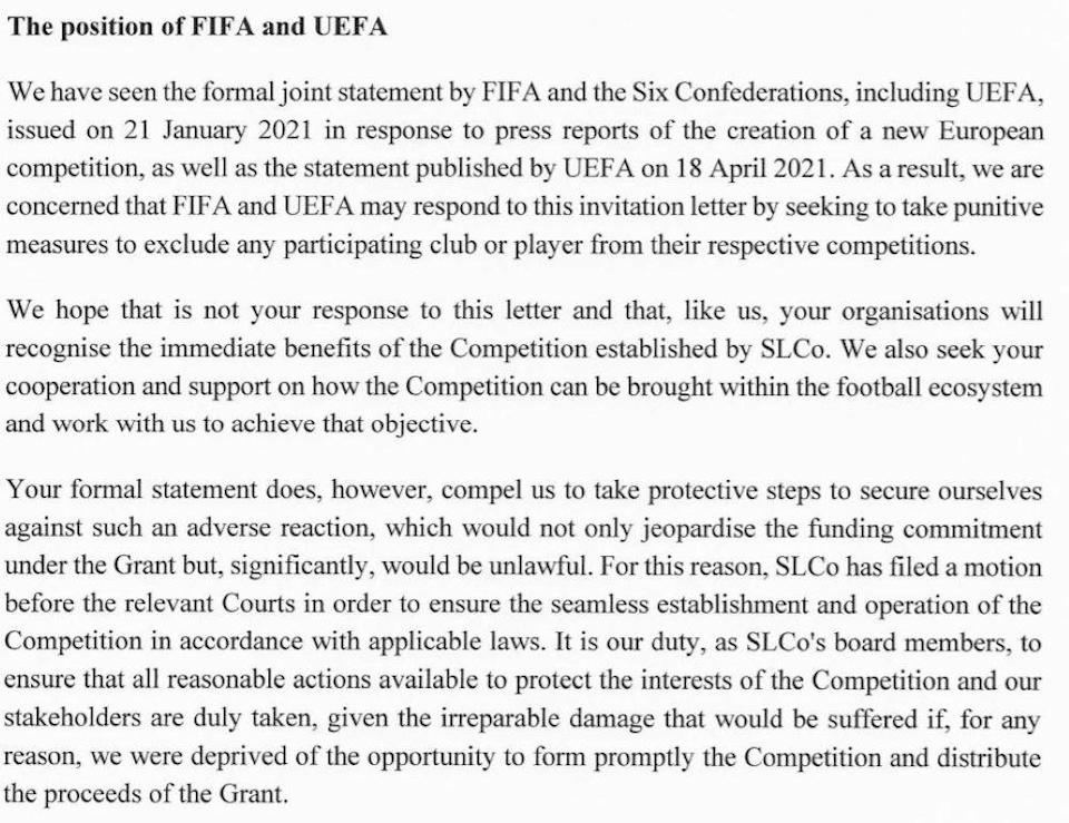 Excerpt of letter from Super League to UEFA and FIFA