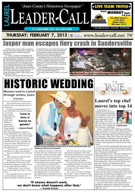 Newspaper articles on gay marriage