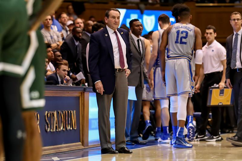 Duke head coach Mike Krzyzewski accidentally committed an NCAA violation by mentioning a recruit who hadn't yet officially signed with the Blue Devils on Friday. (Photo by John McCreary/Icon Sportswire via Getty Images)