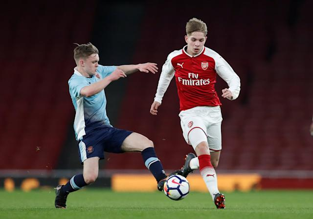 Soccer Football - FA Youth Cup Semi Final Second Leg - Arsenal vs Blackpool - Emirates Stadium, London, Britain - April 16, 2018 Arsenal's Emile Smith Rowe in action with Blackpool's Finlay Sinclair Smith Action Images/Matthew Childs