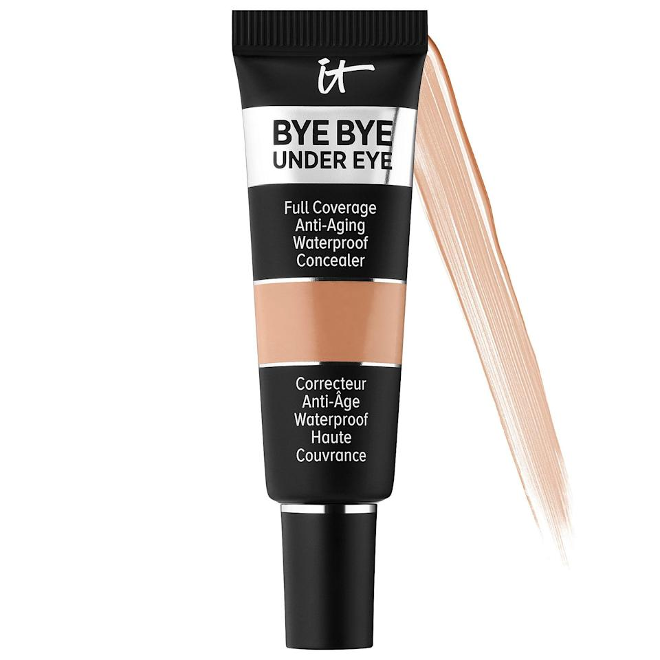 "<p>The <a href=""https://www.popsugar.com/buy/Cosmetics-Bye-Bye-Under-Eye-Full-Coverage-Anti-Aging-Waterproof-Concealer-573261?p_name=IT%20Cosmetics%20Bye%20Bye%20Under%20Eye%20Full%20Coverage%20Anti-Aging%20Waterproof%20Concealer&retailer=sephora.com&pid=573261&price=12&evar1=bella%3Aus&evar9=47465079&evar98=https%3A%2F%2Fwww.popsugar.com%2Fbeauty%2Fphoto-gallery%2F47465079%2Fimage%2F47465084%2FIT-Cosmetics-Bye-Bye-Under-Eye-Full-Coverage-Anti-Aging-Waterproof-Concealer&list1=sephora%2Cconcealer%2Cbeauty%20shopping&prop13=mobile&pdata=1"" class=""link rapid-noclick-resp"" rel=""nofollow noopener"" target=""_blank"" data-ylk=""slk:IT Cosmetics Bye Bye Under Eye Full Coverage Anti-Aging Waterproof Concealer"">IT Cosmetics Bye Bye Under Eye Full Coverage Anti-Aging Waterproof Concealer</a> ($12-$27) comes in 48 different colors, each packed with nourishing ingredients like hyaluronic acid, peptides, and collagen to boost skin's elasticity and plump up the fine lines you're covering at the same time (for up to 24 hours). </p>"
