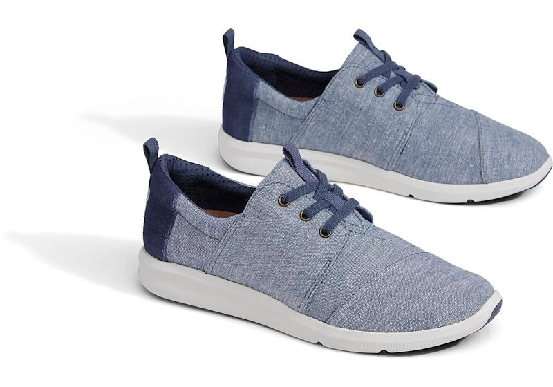 "Get them at <a href=""http://www.toms.com/women/black-dot-chambray-womens-del-rey-sneakers"" target=""_blank"">TOMS</a>, $79."
