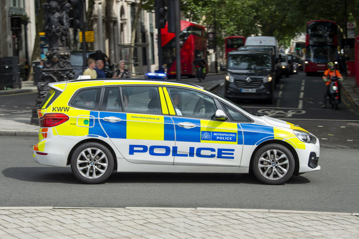 A Metropolitan Police vehicle drives past Trafalgar Square in London as it responds to an emergency call. (Photo by Dave Rushen / SOPA Images/Sipa USA)