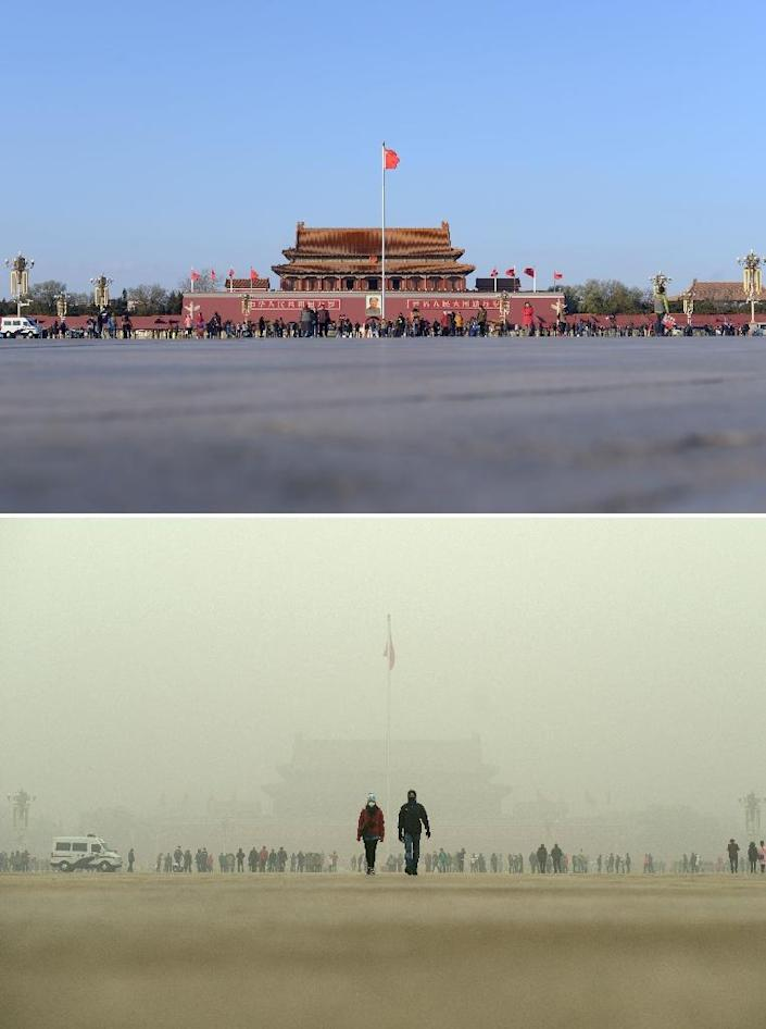 View of people visiting Tiananmen Square during a heavily polluted day in Beijing, on December 1, 2015 (LOWER) and two days later when the smog cleared on December 3 (TOP) (AFP Photo/Wang Zhao)