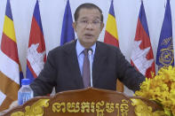 In this photo taken from video, Samdech Akka Moha Sena Padei Techo Hun Sen, Prime Minister of Cambodia, remotely addresses the 76th session of the United Nations General Assembly in a pre-recorded message, Saturday Sept. 25, 2021 at UN headquarters. (UN Web TV via AP)