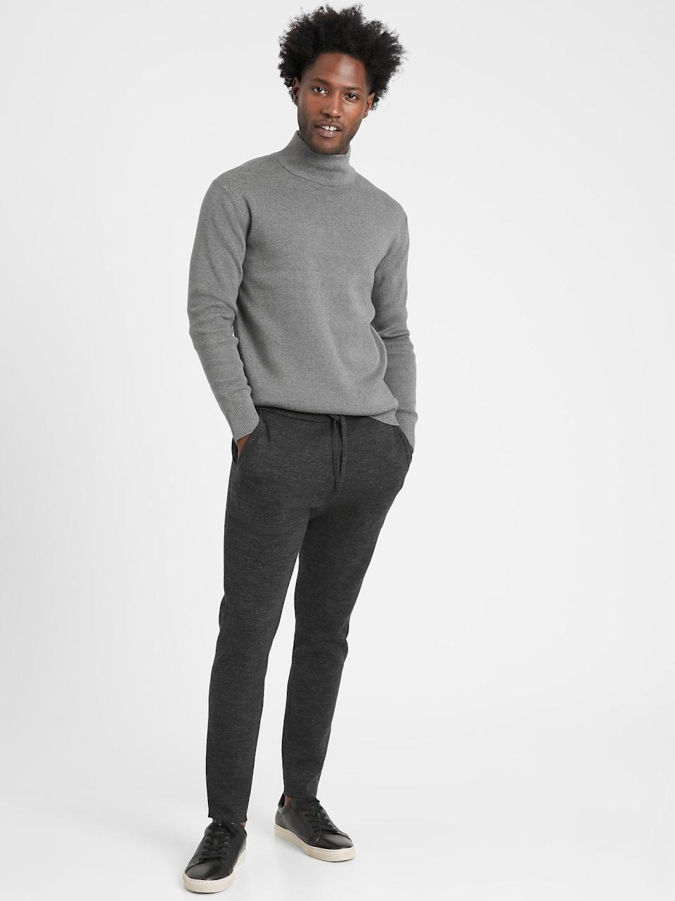 <p>Bring a loved one up to date on your love of soft pants (that are <em>not</em> sweatpants) with these <span>Banana Republic Organic Cotton Sweater Joggers</span> ($99).</p>