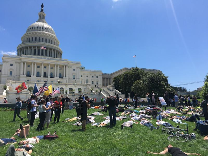 Demonstrators take part ina National Die-Indemonstration in Washington on June 12, lying quietly for 720 seconds — one for each mass shootings in the U.S. since the Pulse nightclub attack in Orlando, Florida, two years ago.