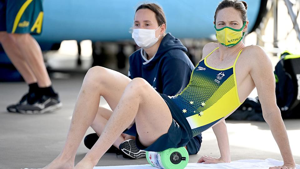 Cate Campbell, pictured here before the Tokyo Olympics swimming event.
