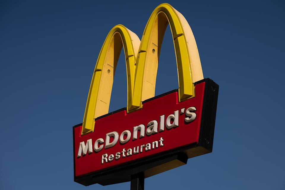 A general view of a McDonalds logo at a restaurant. Source: AAP
